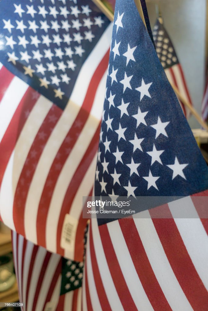 Close-Up Of American Flags : Stock Photo