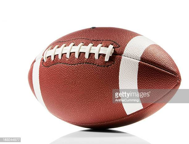 close-up of american football isolated in white - football stockfoto's en -beelden