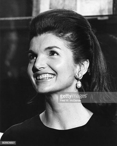Closeup of American former First Lady Jacqueline Bouvier Kennedy as she attends an unspecified event January 24 1967