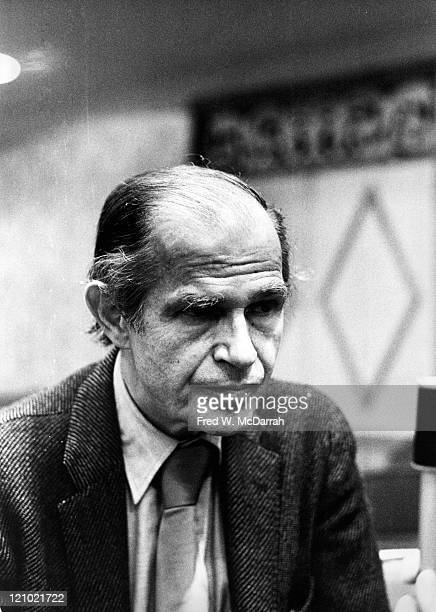 Closeup of American former lawyer and government official Alger Hiss as he attends the AJ Liebling CounterConvention New York New York May 10 1974...