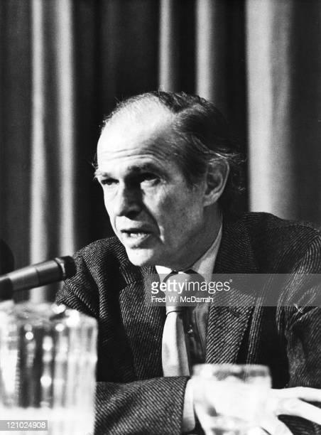 Closeup of American former lawyer and government official Alger Hiss as he speaks at the AJ Liebling CounterConvention New York New York May 10 1974...