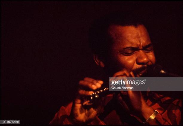 Closeup of American Jazz musician Hubert Laws plays flute as he performs at the New Orleans Jazz Festival New Orleans Louisiana April 1978
