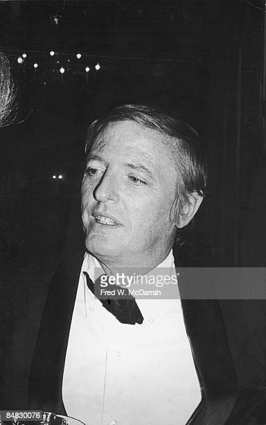 Closeup of American journalist author and founder of the National Review William F Buckley Jr as he attends a prerelease party for the film 'The Way...