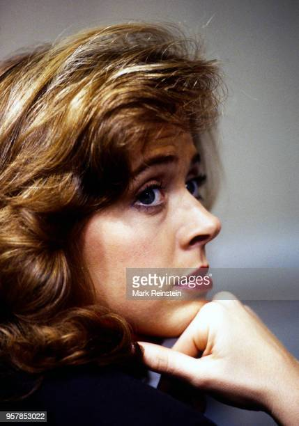 Closeup of American journalist NBC correspondent Linda Vester as she waits for the daily press briefing at the White House Washington DC May 10 1992