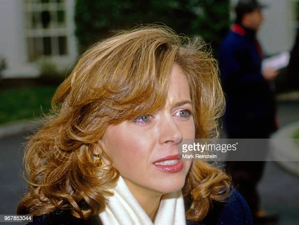 Closeup of American journalist NBC correspondent Linda Vester as she stands outside the White House's West Wing Washington DC 1992