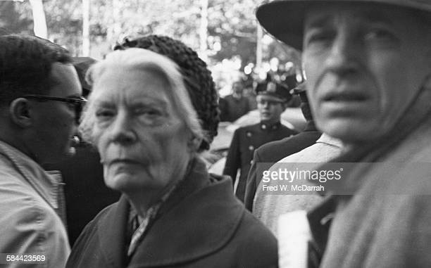 Closeup of American journalist pacificist and activist Dorothy Day as she attends an antiViet Nam War demonstration near Foley Square New York New...