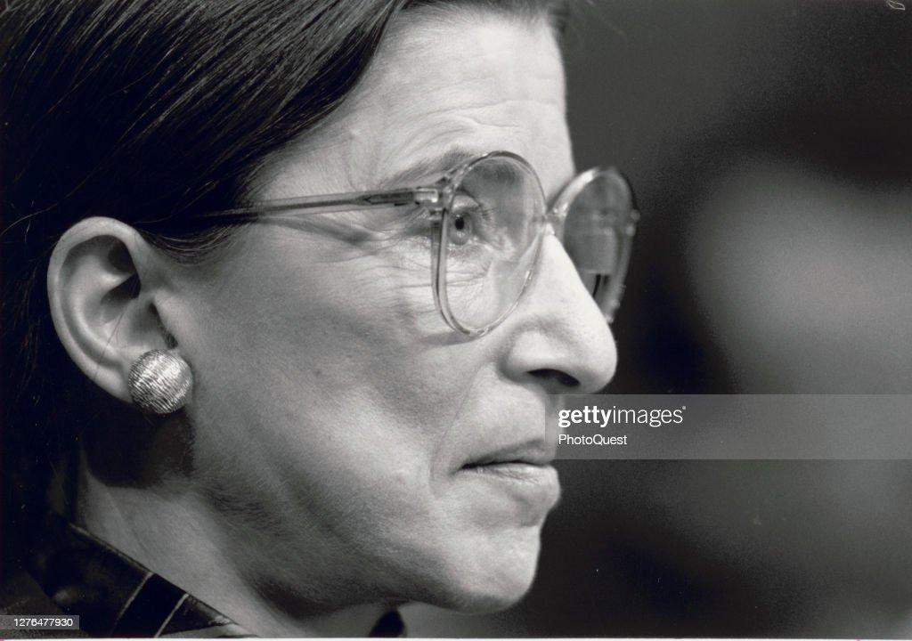 Ruth Bader Ginsburg Testifies At Confirmation Hearing : News Photo