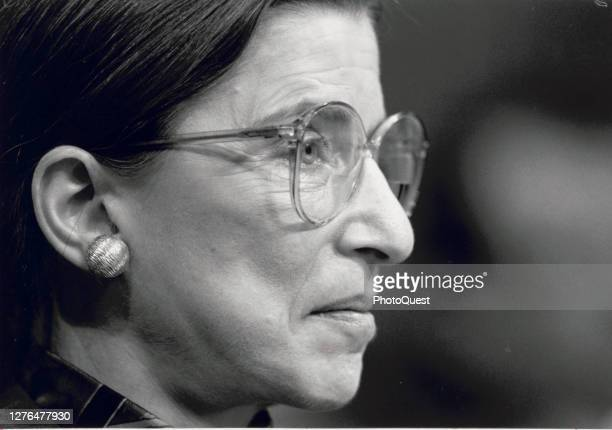 Close-up of American jurist Ruth Bader Ginsburg during her testimony before the US Senate Judiciary Committee during a confirmation hearing over her...