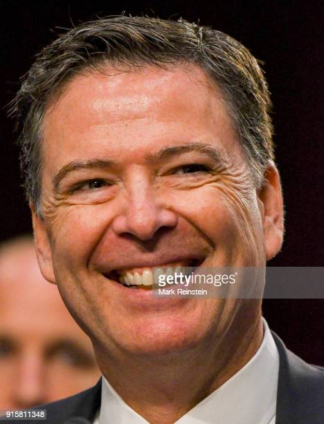 Closeup of American lawyer and former FBI Director James Comey as he testifies before the Senate Intelligence Committee Washington DC June 8 2017