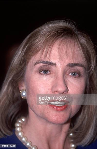 Close-up of American lawyer Hillary Clinton at a Presidential campaign rally for her husband on the Rutgers University campus, New Brunswick, New...