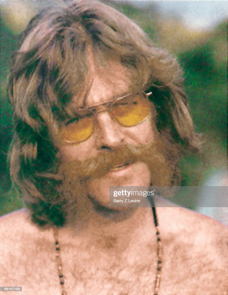 Close-up of American lighting techician, live music producer, and master of ceremonies Chip Monck (born Edward Herbert Beresford Monck) at the Woodstock Music and Arts Fair in Bethel, New York, August 15 - 17 (and part of the 18th), 1969.