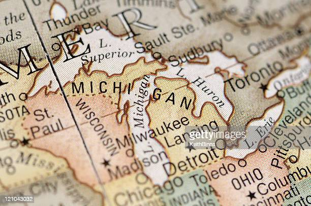 Close-up of American map focusing on Michigan