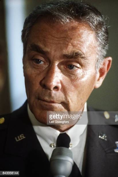 Closeup of American military commander General Alexander Haig Brussels Belgium 1975 The photo was taken at the North Atlantic Treaty Organization...