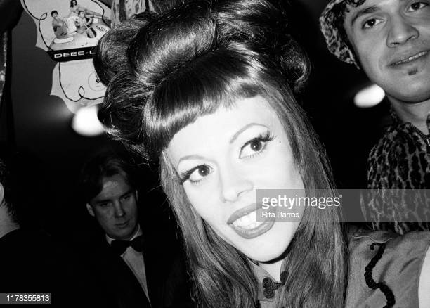 Close-up of American musician and DJ Lady Miss Kier , of the group Deee-Lite, at the Roxy nightclub, New York, New York, June 25, 1992.