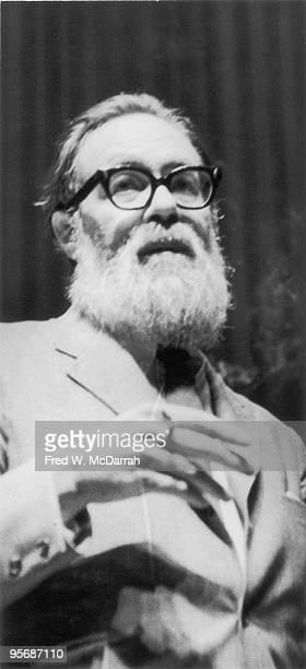Closeup of American poet John Berryman as he smokes a cigarette at an unspecifed event New York New York March 7 1969
