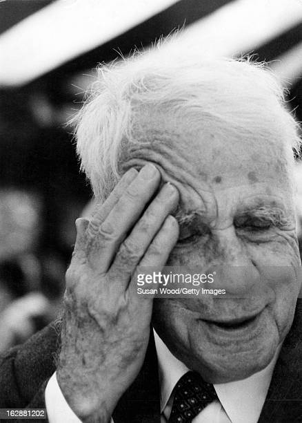 Closeup of American poet Robert Frost as he attends the twentyeighth annual commencement of Sarah Lawrence College Bronxville New York June 7 1956