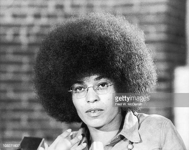 Closeup of American political activist and scholar Angela Davis New York October 16 1972