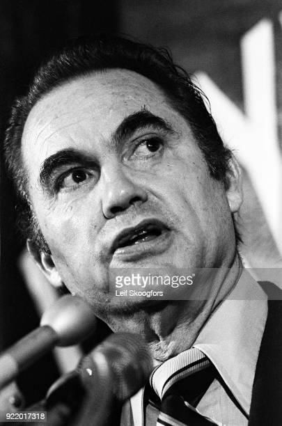 Closeup of American politician and former Alabama Governor George Wallace as he campaigns for the US Presidency at a rally Daytona Beach Florida 1972