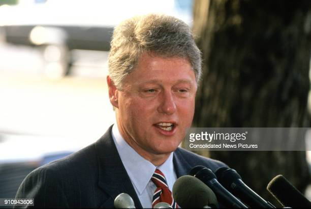 Closeup of American politician Arkansas Governor Bill Clinton as he speaks with press outside Blair House Washington DC June 18 1992 He had just met...