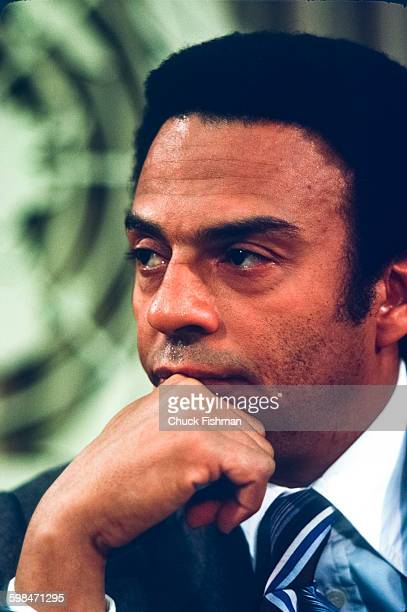 Closeup of American politician diplomat and United States Ambassador to the United Nations Andrew Young at a UN press conference New York New York...