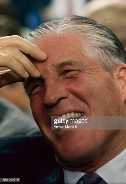 Closeup of American politician Governor of Michigan George W Romney as he laughs during the Republican National Convention at the Miami Beach...