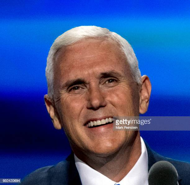Closeup of American politician Indiana Governor and vicepresidential candidate Mike Pence onstage during the Republican National Convention at...
