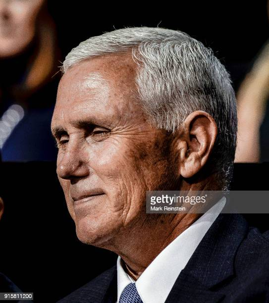 Closeup of American politician Indiana Governor Mike Pence during the Republican National Convention at the Quicken Loans Arena Cleveland Ohio July...