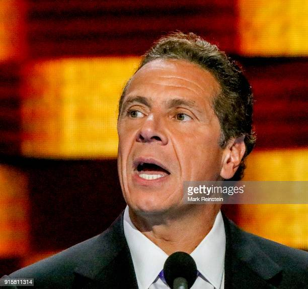 Closeup of American politician New York Governor Andrew Cuomo as he addresses the Democratic National Convention at the Wells Fargo Arena...