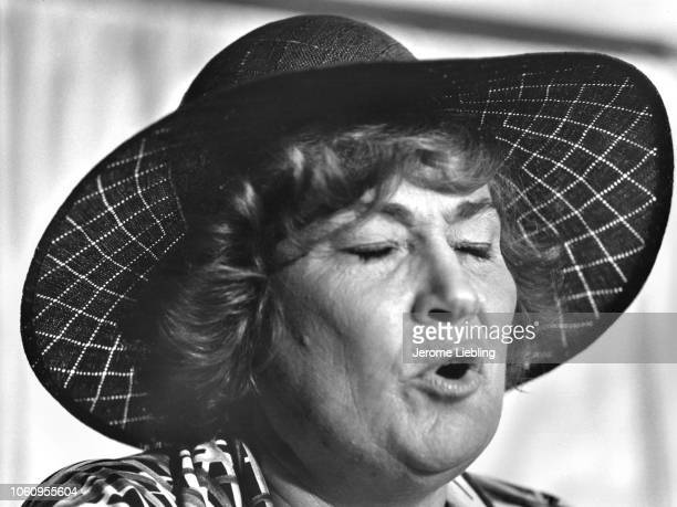 Closeup of American politician US Representative feminist activist and mayoral candidate Bella Abzug during the New York City Democratic Party's...