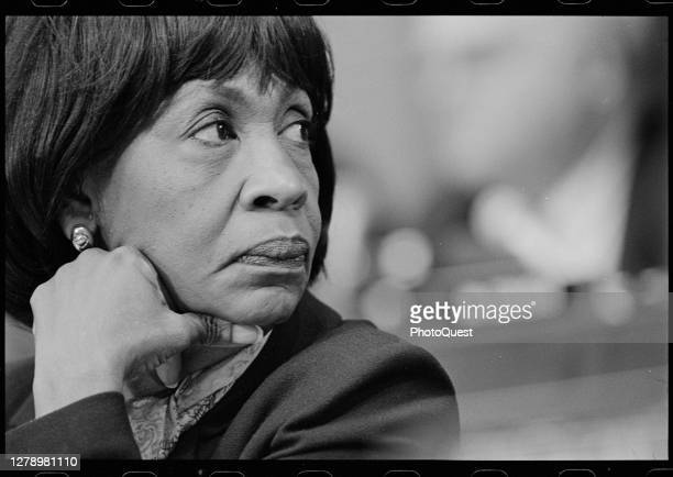 Close-up of American politician US Representative Maxine Waters during a Judiciary Committee hearing , Washington DC, December 1998.