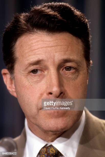 Closeup of American politician US Secretary of Health Education and Welfare Caspar Weinberger during a White House press conference Washington DC...