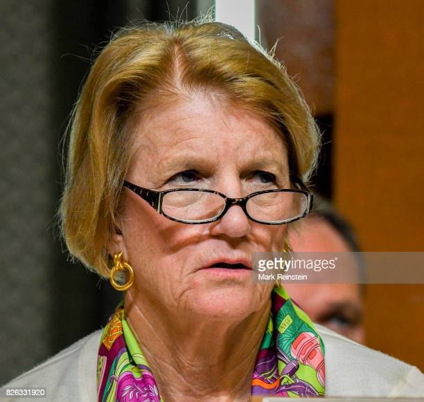 Closeup of American politician US Senator Shelley Moore Capito as she listens to testimony during a Senate Appropriations subcommittee hearing...