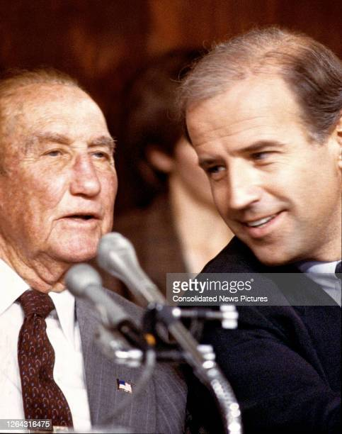 Close-up of American politicians and US Senators Strom Thurmond and Joseph Biden, respectively the ranking member and Chairman of the Senate...