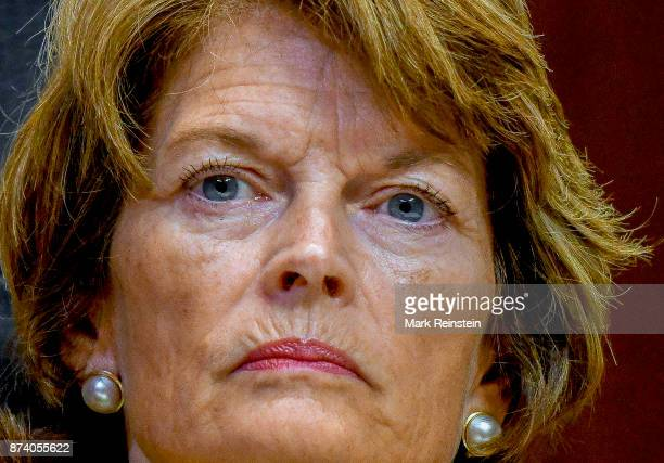 Close-up of American politicians Senator Lisa Murkowski as she listens to testimony during a Senate Subcommittee on Appropriations hearing,...