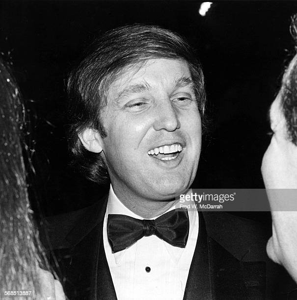 Closeup of American real estate developer Donald Trump attends Roy Cohn's birthday party at the Seventh Regiment Armory New York New York February 22...