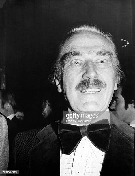 Closeup of American real estate developer Fred Trump as he attends an event in formal attire New York New York April 2 1978
