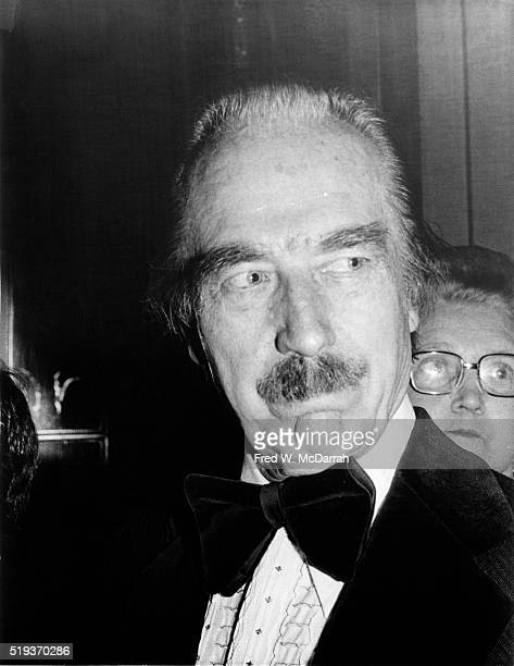 Closeup of American real estate developer Fred Trump in a velvetaccented tuxedo at an unidentified formal event New York New York April 2 1978