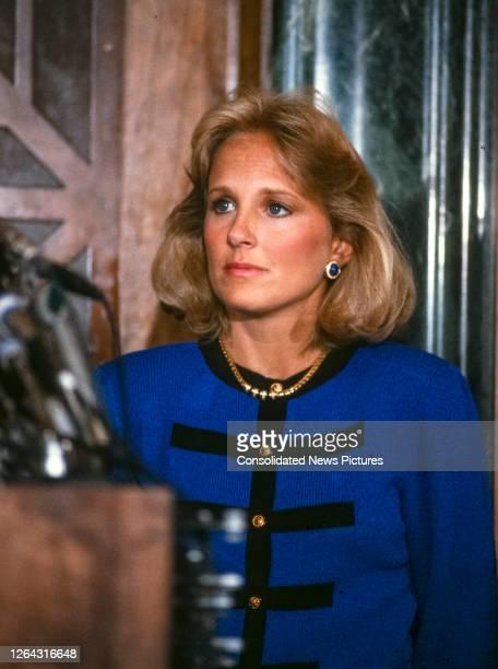 Close-up of American school teacher Jill Biden during a press conference, Washington DC, September 23, 1987. At the conference, her husband, Senator...