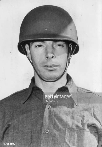 Close-up of American US Army private and baseball player Joe DiMaggio , 1943.