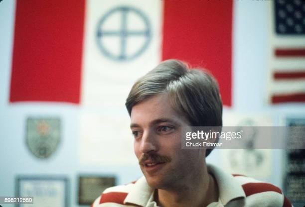 Closeup of American white supremacist and Grand Wizard of the Ku Klu Klan David Duke in his Patriot Bookstore Metairie Louisiana July 1977 Through...
