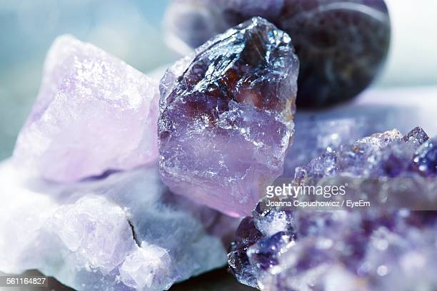 close-up of amethysts - amethyst stock photos and pictures