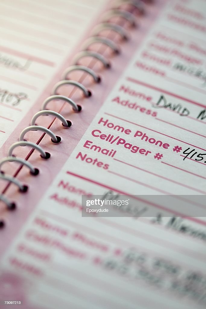 Close-up of an address book : Stock Photo