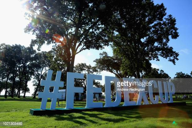 A closeup of an advertising board during the Pro Am event prior to the start of The Northern Trust at Ridgewood CC on August 22 2018 in Ridgewood New...