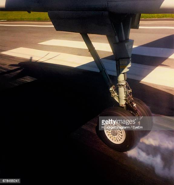 close-up of an airplane wheel - landing gear stock photos and pictures