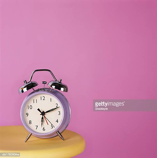 close-up of an alarm clock on a table