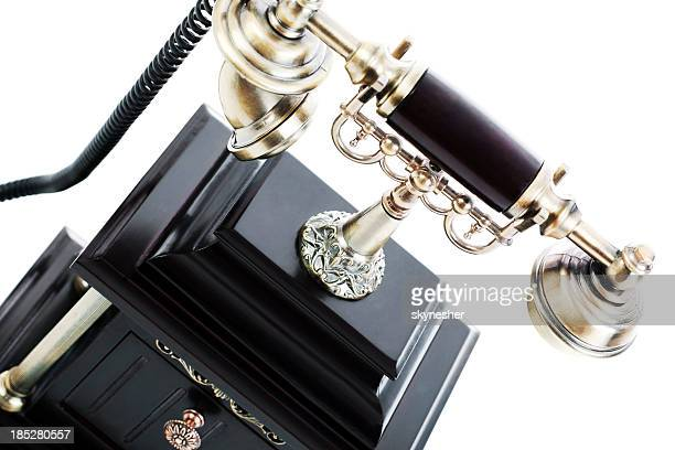 close-up of an antique phone. - candlestick phone stock pictures, royalty-free photos & images