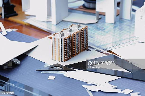 Close-up of an architectural model on a table in an office