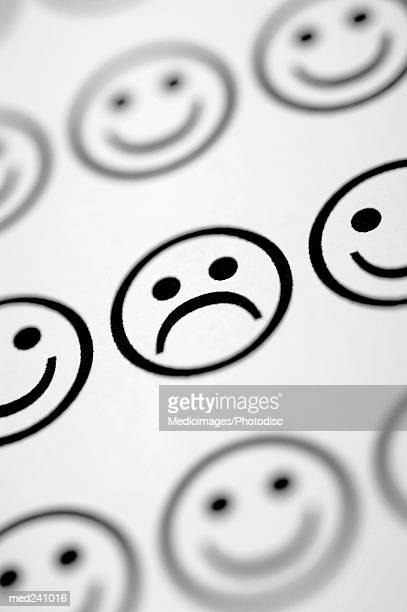 Close-up of an array of smiley faces