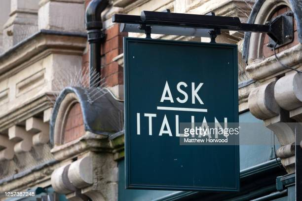 Close-up of an ASK Italian restaurant sign on July 20, 2020 in Cardiff, United Kingdom. Many UK businesses are announcing job losses due to the...