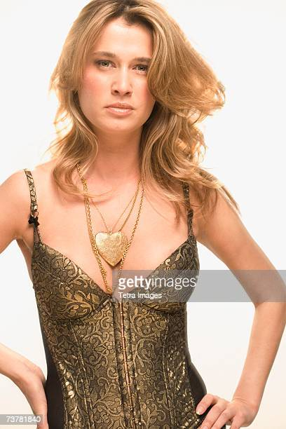 close-up of an attractive woman wearing a bustier - corset stock pictures, royalty-free photos & images